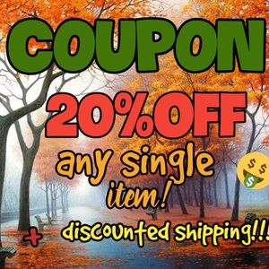 Other - COUPON 20% OFF ANY SINGLE ITEM!!!!!